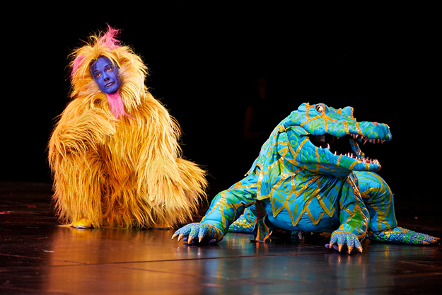 Monkey and crocodile in Seattle Opera's The Magic Flute. Philip Newton photo