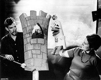 Jim and Jane Henson on the set during the filming of a Wilkins Coffee commercial in 1960. The nine-second commercials were so successful that more than 200 were eventually produced. Photo by Del Ankers, courtesy of The Jim Henson Company.