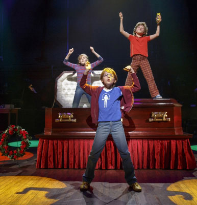 (From L) Carly Gold as 'Small Alison', Luké Barbato Smith as 'Christian' and Henry Boshart as 'John' in Fun Home Photo credit: Joan Marcus