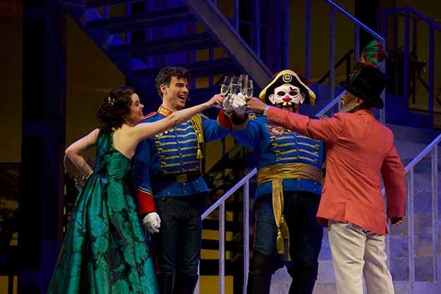Shelly Traverse (Hero), Craig Verm (Claudio), Daniel Sumegi (Don Pedro) and Marvin Grays (Leonato). (photo by Jacob Lucas)