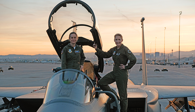 "Brie Larson (left) gets hands-on help from Brigadier General Jeannie Leavitt, 57th Wing Commander (right), on a recent trip to Nellis Air Force Base in Nevada to research her character, Carol Danvers aka Captain Marvel, for Marvel Studios' Captain Marvel. Brie Larson (left) gets hands-on help from Brigadier General Jeannie Leavitt, 57th Wing Commander (right), on a recent trip to Nellis Air Force Base in Nevada to research her character, Carol Danvers aka Captain Marvel, for Marvel Studios' ""Captain Marvel."" Photo: Brad Baruh ©Marvel Studios 2019"