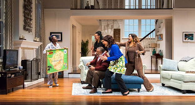 "The cast of ""Familiar"" by Danai Gurira, directed by Taibi Magar at Seattle Repertory Theatre. (Photo by Navid Baraty.)"