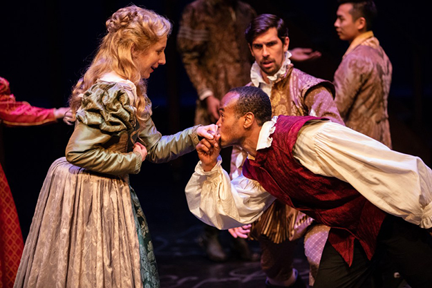 """Chiara Motley, Raphael Jordan and Brian Claudio Smith in Seattle Shakespeare Company's production of """"Shakespeare In Love"""" (Photo by Ulman)"""