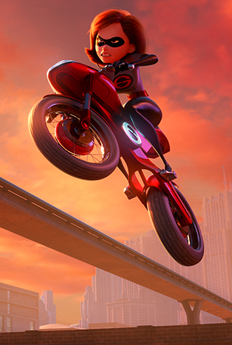 """SUPER CYCLE When Helen aka Elastigirl is called on to help bring Supers back in Incredibles 2 she employs a brand-new, specially designed, state-of-the-art Elasticycle. Written and directed by Brad Bird and featuring the voice of Holly Hunter as Helen, Disney•Pixar's """"Incredibles 2"""" busts into cinemas on July 13, 2018. ©2018 Disney•Pixar. All Rights reserved."""