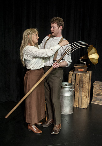 Molli Corcoran and Tyler Todd Kimmel in Sweet Land the Musical at Taproot Theatre. Photo by Erik Stuhaug.