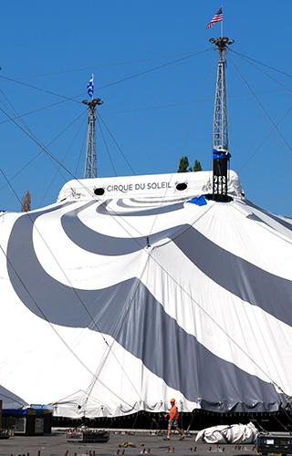 Cirque du Soleil VOLTA Tent Raising at Marymoor Park Seattle on Equality365.com