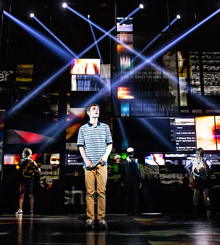 Ben Levi Ross as 'Evan Hansen' and the Company of the First North American Tour of Dear Evan Hansen.  (Photo by Matthew Murphy. 2018)