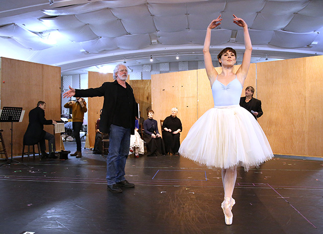 Terrence Mann and Tiler Peck with cast of Marie-Still Dancing during the Sneak Peek Presentation for 'Marie, Dancing Still - A New Musical'  at Church of Saint Paul the Apostle in Manhattan on March 4, 2019 in New York City.