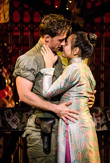 "Emily Bautista as 'Kim' and Anthony Festa as 'Chris' in the North American Tour of MISS SAIGON singing ""Last Night of the World"" (photo by Matthew Murphy)"