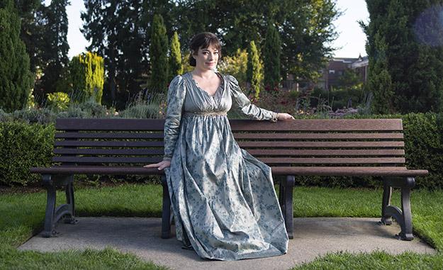 Laura Michelle Kelly as Jane Austen in Austen's Pride at The 5th Avenue Theatre (Photo Credit Mark Kitaoka)