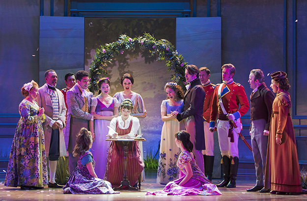 Laura Michelle Kelly (seated center) stars as Jane Austen in Austen's Pride at The 5th Avenue Theatre (Photo Credit Tracy Martin)