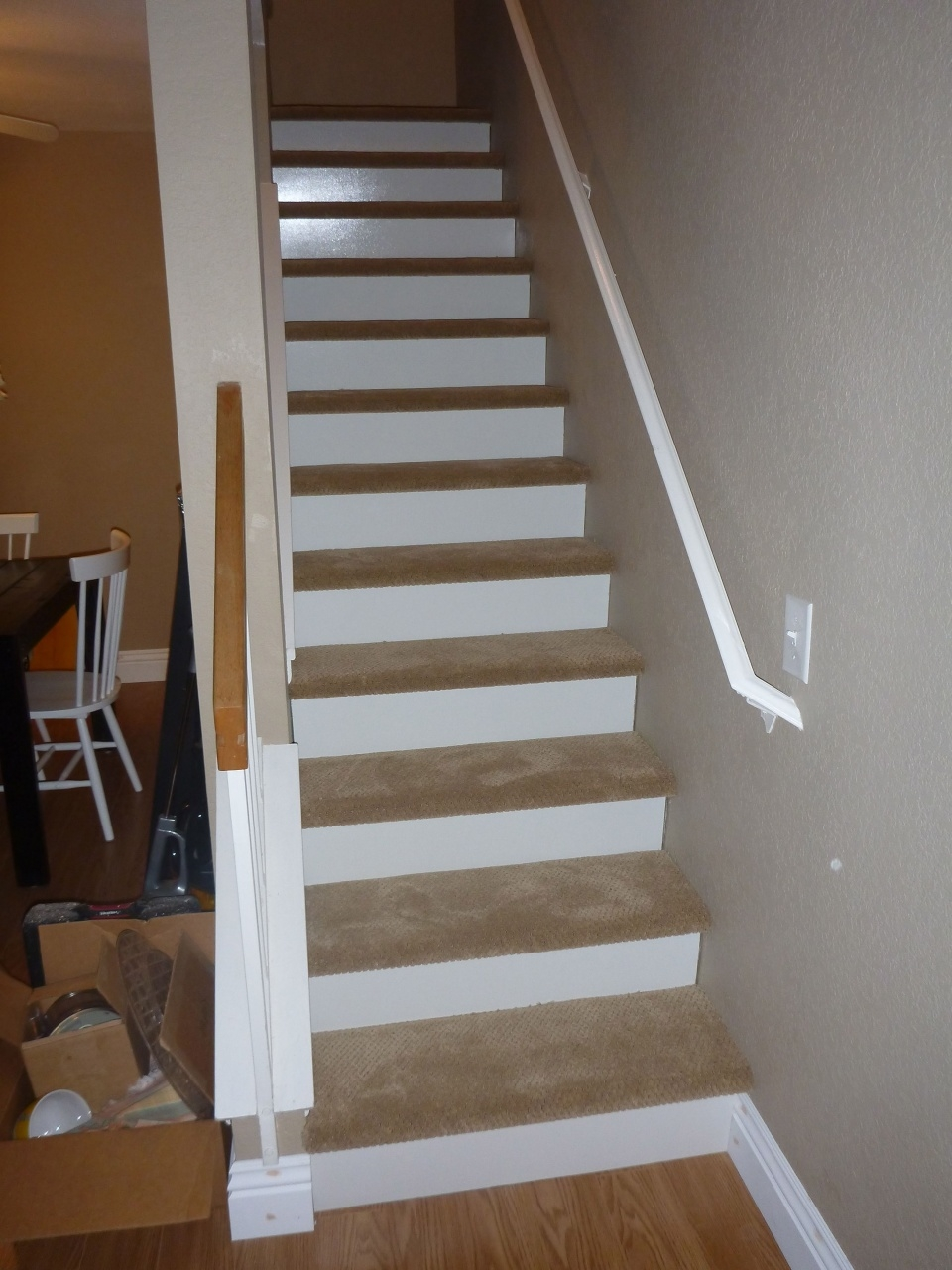 Vinyl Stairs Treads And Risers Our New Stairs 1 8 Inch Wood White | Oak Stairs With White Risers | Natural | Red Oak | Character | Hardwood | Dark Walnut Staircase