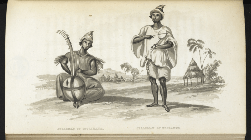 Griots – West African musicians and story-tellers. From Alexander Gordon Laing, Travels in the Timannee, Kooranko, and Soolima countries in western Africa (London: J. Murray, 1825)