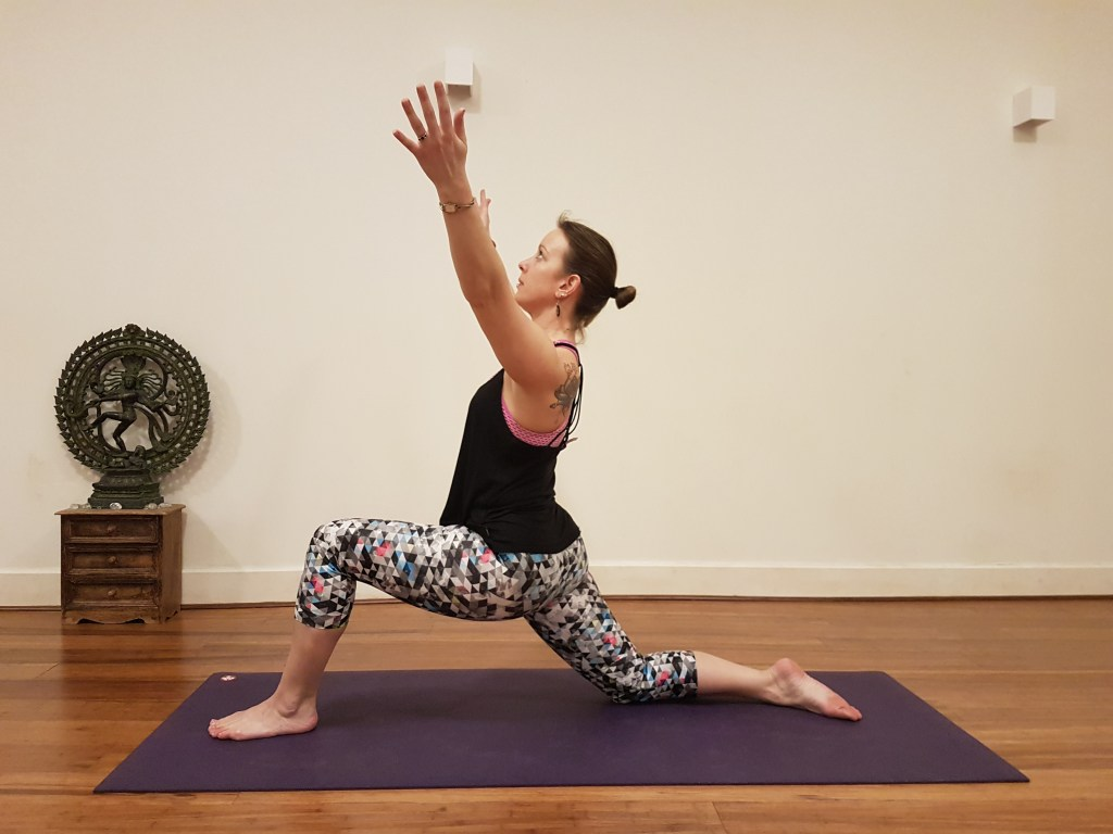 Crescent Lunge pose with back knee on the floor