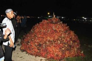Warga mengabadikan buah rambutan sebagai potensi andalan Kecamatan Sajad dalam pembukaan MTQ Kabupaten Sambas 2015.  M Ridho/Rakyat Kalbar