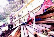 TERBALIK. Truk pembawa kayu ilegal ketika terbalik di tahlut. Saat ini truk beserta kayu dan pemiliknya sudah diamankan di Polres Melawi--Polisi for RK