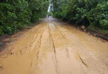 Jalan Rusak. Kondisi jalan provinsi di Desa Simpang Tiga menuju Sukadana rusaknya semakin parah. Kamiriluddin/RK.