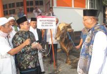 KURBAN JOKOWI. Dodi Riyamadji menyerahkan hewan kurban milik Presiden RI Joko Widodo berupa sapi limosin kepada Sutarmidji di lokasi Salat Id Jalan Rahadi Oesman, Pontianak, Rabu (22/8). Maulidi Murni-RK