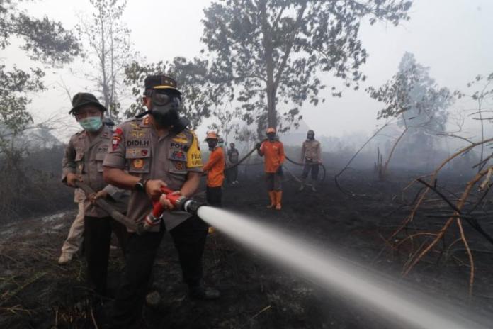 Kapolda Kalbar Irjen Pol Didi Haryono ikut memadamkan api di Sungai Raya Dalam ujung, belakang Komplek Korpri, Minggu (22/8). Humas Polda for RK