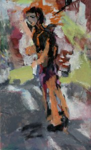Figure on an Autumn Street / 51 x 31 cm