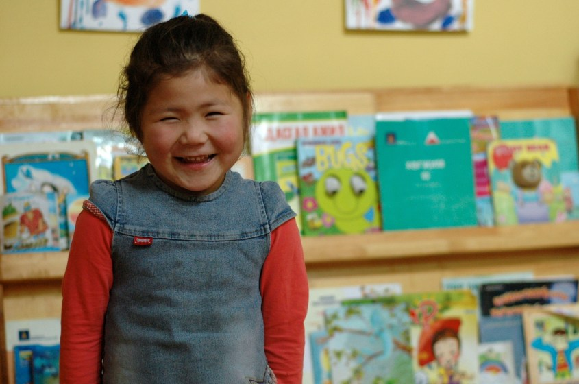 Due to the Gobi Gallop and the Veloo Foundation this girl can enjoy going to Kindergarten in Mongolia