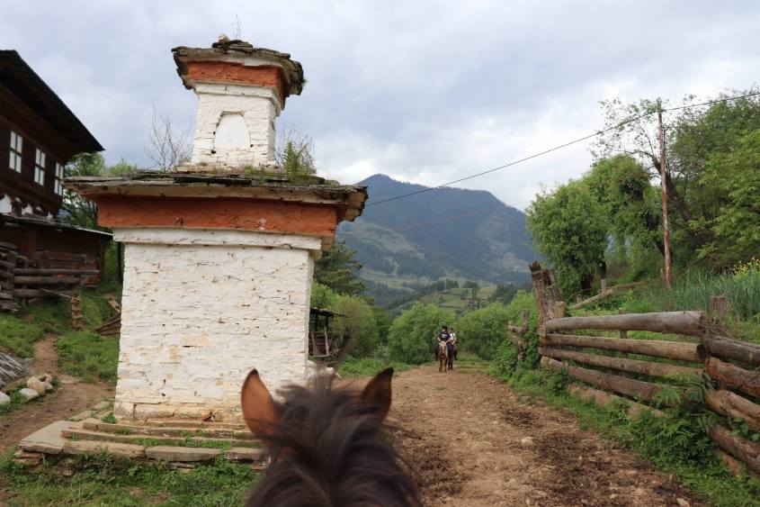 A stupa in the himalayan mountains seen through a Bhutanese pony's ears