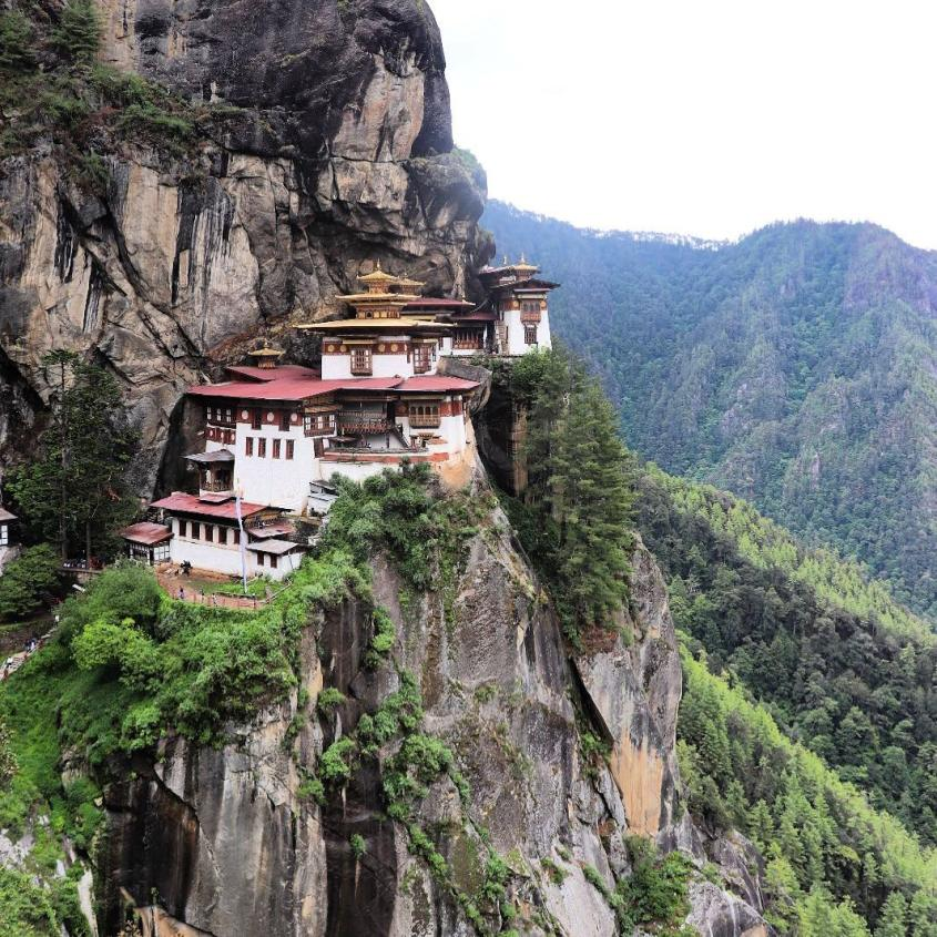The Tiger's Nest Temple built on a steep cliff in Bhutan