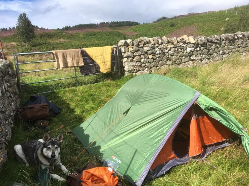Camping at Croick on my way from Scotland to Cornwall on horseback