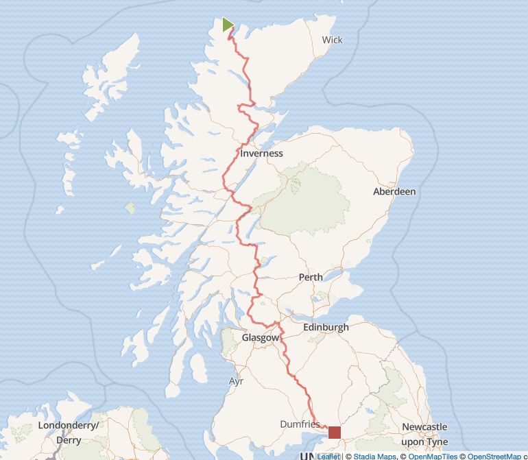 Planned Route through England - Crossing a country on horseback