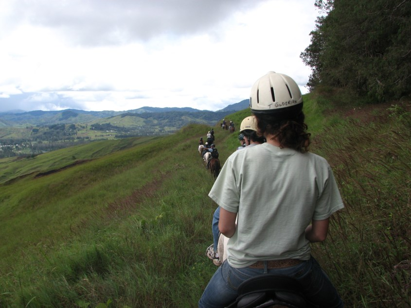 Trail riding in Papua New Guinea on horseback in 2009