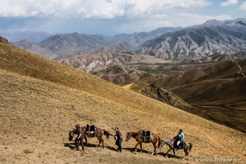 Climbing a pass in the Mountains of Heaven, Kyrgyzstan at 4000m above sea level