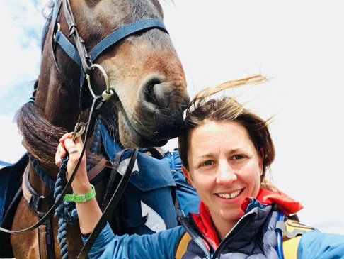 A selfie of Clare and Pansy, her Fell pony, while horse trekking in England