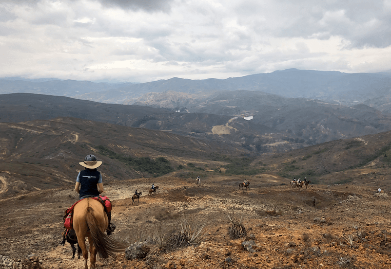 horse riding in Colombia with its stunning views in the mountains