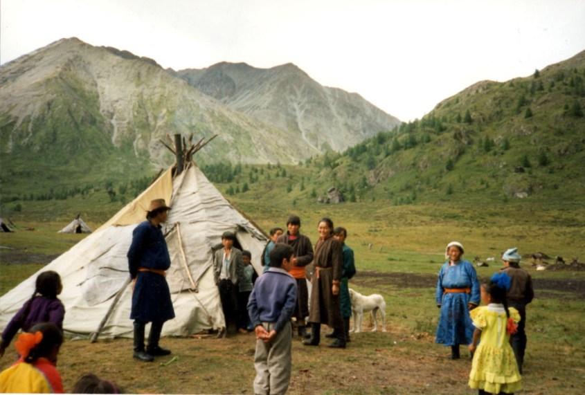 A Tsaatan family - reindeer herders in Mongolia