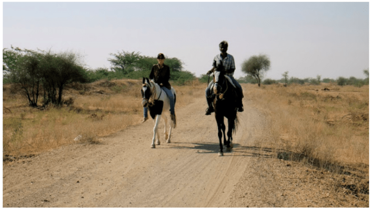 two people riding 500km on horseback across Rajasthan. One of them is riding their horse bareback