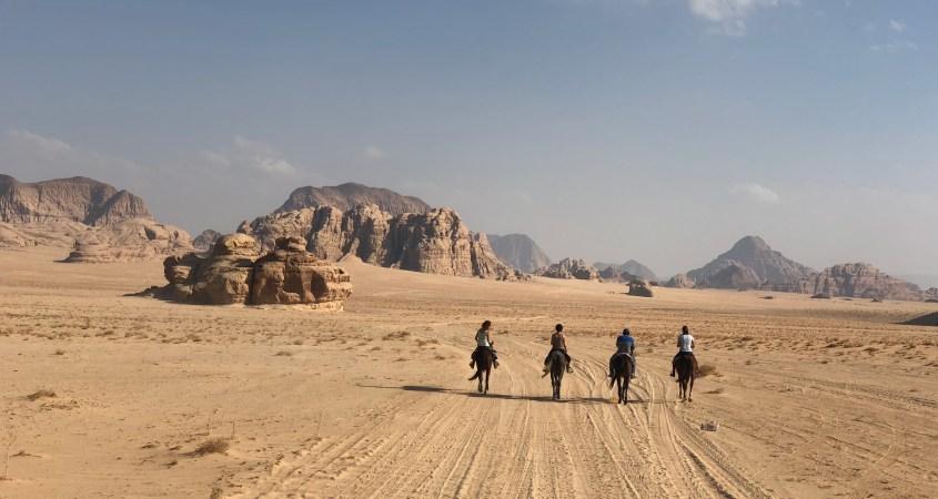 Horse Riding in the desert Wadi Rum in Jordan
