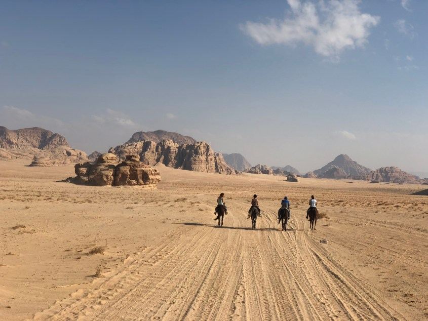 Horse Riding in the desert Wadi Rum in Jordan
