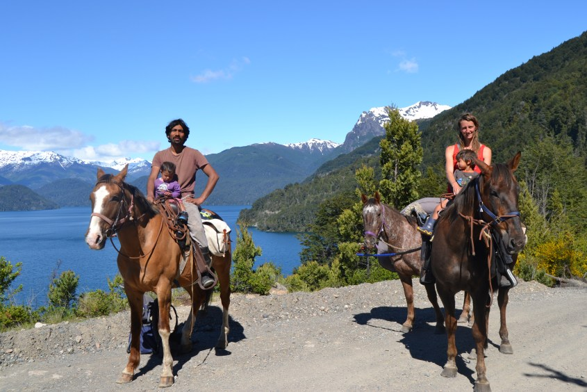 south america horseback riding as a family with two toddlers
