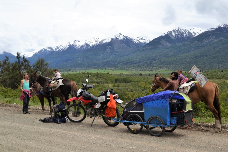 south america horseback riding with three horses and a motorbike with trailer as a support vehicle