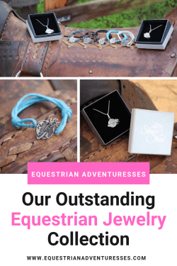 Pinterest pin for Equestrian Adventuresses Jewelry Collection showing bracelets and necklaces on a rustic leather saddle