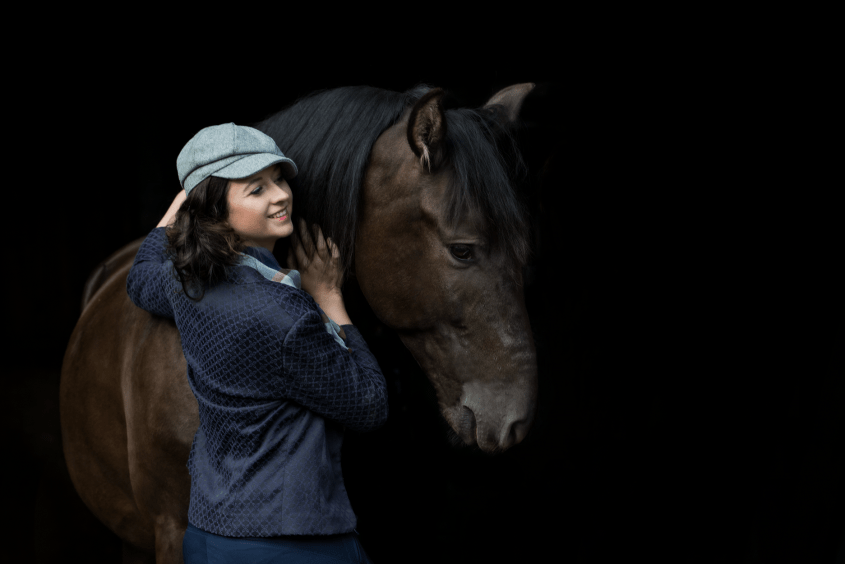 Miriam Melanie Köhler with her horse PRE Violetero, this time in front of the camera not behind