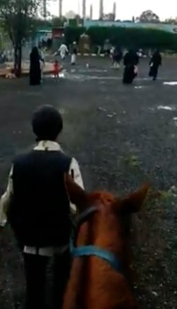 A view through the horse's ears while horse riding in Yemen