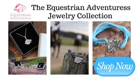 Be prepared for upcoming equestrian adventures and master any upcoming obstacles in style with our Equestrian Jewelry Collection showing a woman galloping around the globe