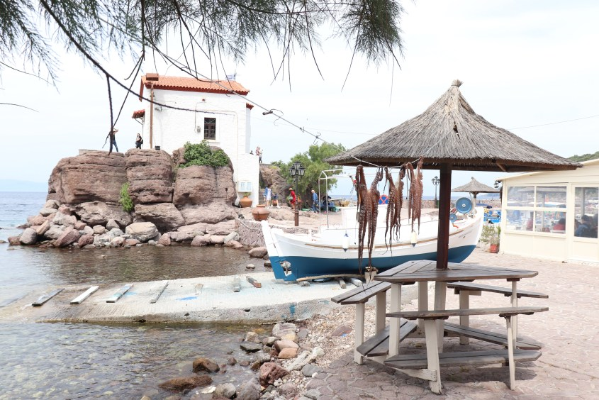 """the small fishing village Skala Sikamineas with the small chapel of """"the Panagia Mermaid"""", which is build on a rock. the village is the destination of one of the daily rides on horseback."""