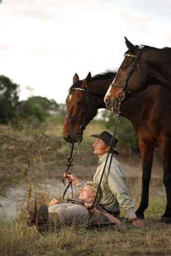 Felicia and Gordie are in perfect harmony with each other and their horses during a break from riding in Kenya