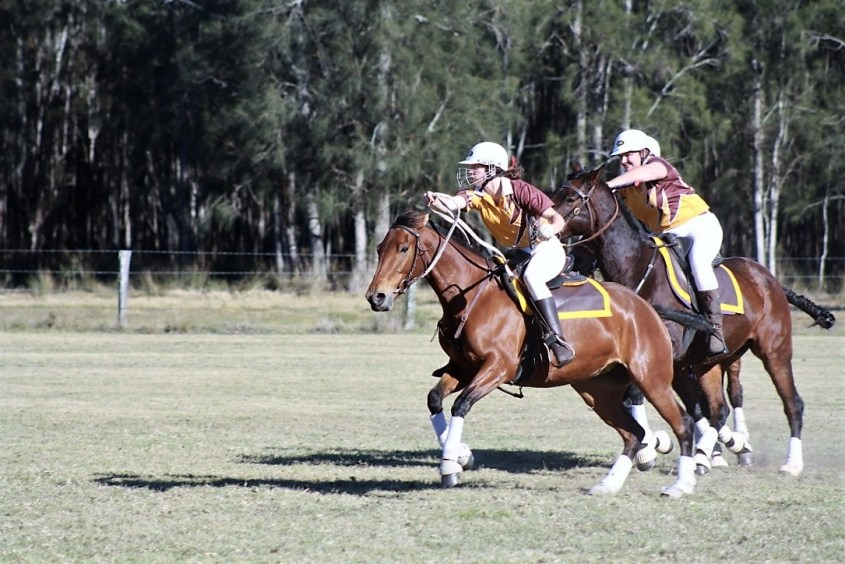 Odessa is playing polocrosse on the attack position on a mare in training in Australia