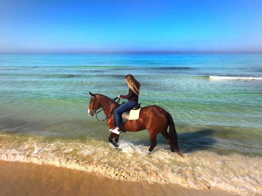 Swimming in the sea in Mallorca, near La Barralina Polo Club