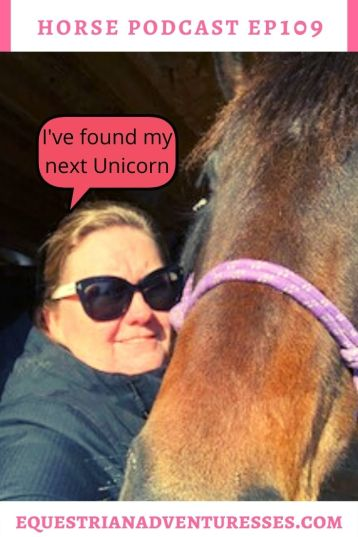 Horse and travel podcast pin - 109: I found my next Unicorn - Buying the Perfect horse