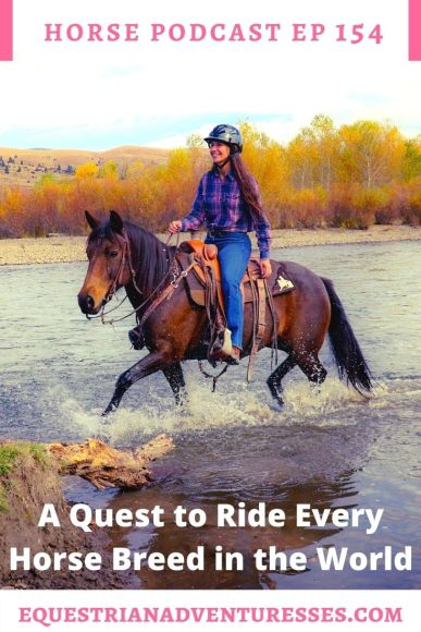 Horse and travel podcast pin - Ep 154 Rinding every breed