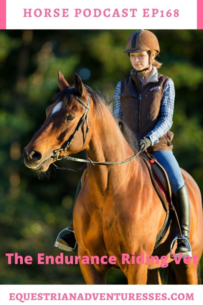 Horse and travel podcast pin - Ep168: The Endurance Riding Vet